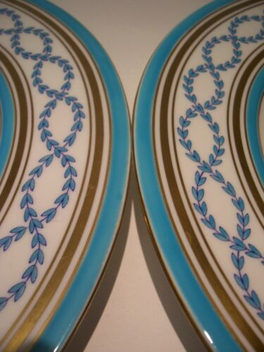 """2 Antique Minton Turquoise Gold Encrusted Cabinet Dinner Plates 10.75"""""""