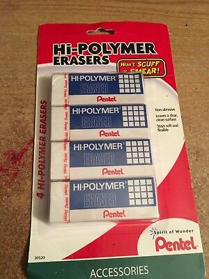 Pentel Hi-polymer Block Eraser Large White Pack Of 4 Wont Scuff Or Smear Non