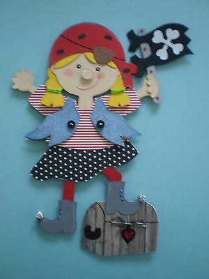 Fensterbild-Pirat-kleines Piratenmädchen-Kinder- Schultüte- Dekoration-Tonkarton