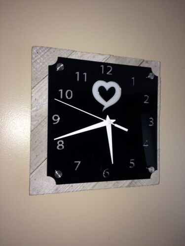 Handmade Wall Clock, Acrylic And Rustic Wood Base, One Of A Kind Gift
