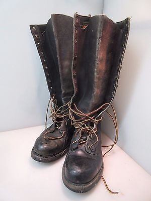 "Vintage KNAPP USA Leather Steel Toe Motorcycle Boots 16-1/2"" Tall Size 9-1/2D"