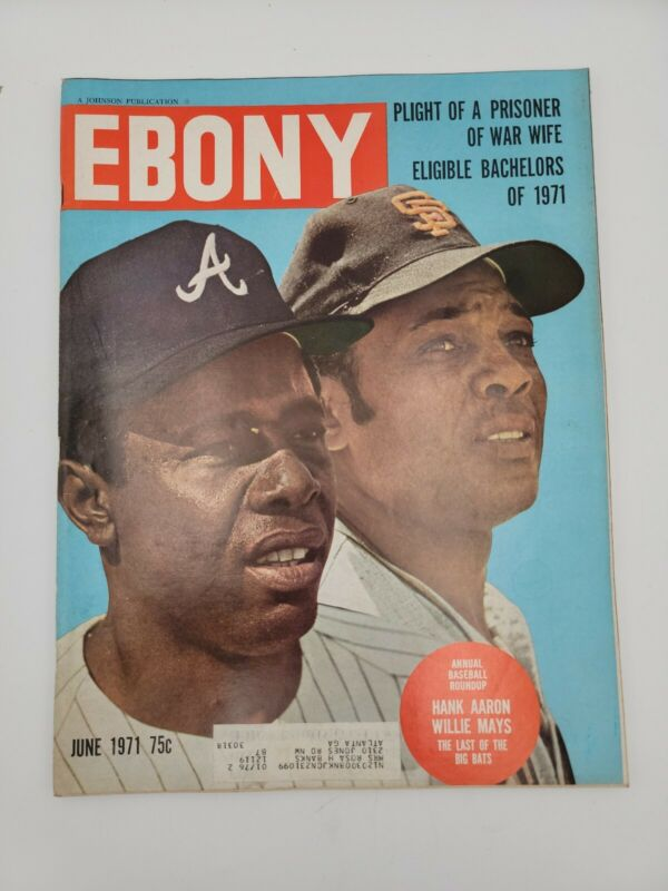 EBONY MAGAZINE HANK AARON WILLIE MAYS JUNE 1971 VINTAGE COLLECTIBLE