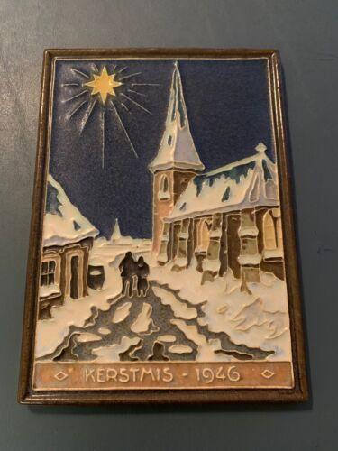 Rare Royal Delft Factory - Cloisonne Kerstmis Tile - 1946 Porcelijne Fles