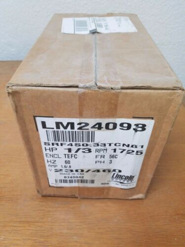 Lincoln Electric Motor LM24093 SRF4S0.33TCN61 HP 1/3 RPM 1725 FR 56C