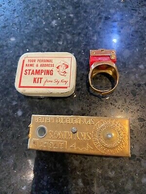 1940s Jewelry Styles and History Sky King's Spy-Detecto Writer 1949 Premium Vintage decoder ,Ring, Stamping Kit $39.96 AT vintagedancer.com