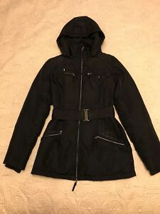 Black Down Filled Winter Coat Small