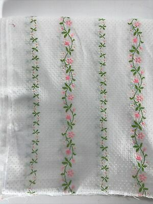 2 meters of ribbon woven pink background patterned gray flowers