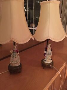 2 lampes vintage allemand majolica lace 1950 Man and women