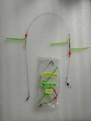 RISKO'S TANGLE FREE PERCH RIG (3 hook) NEW DOUBLE  BOTTOM DESIGN (3 PACK) Double Hook Rigs