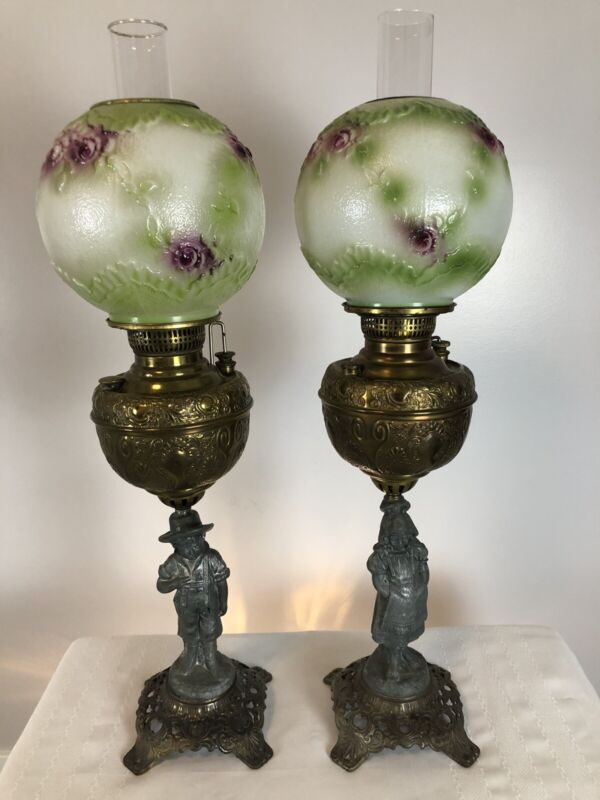 "Pair of Antique Miller Co. Meteor Oil Lamps Figural Banquet Parlor GWTW 40"""