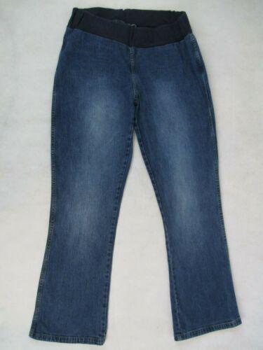 MOTHERHOOD MATERNITY Sz Medium M UNDER BUMP Wide Waist Band BOOTCUT Blue Jeans