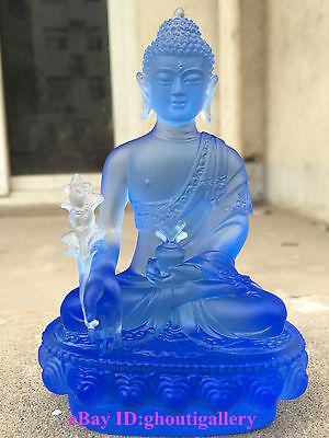 Medicine Buddha/Blue/Art Colored Glass/Crystal Sculpture/Fengshui