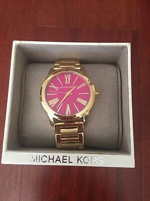 ❤️Michael Kors❤️MK3520 Hartman Gold Tone Pink Mother of Pearl Dial Womens Watch
