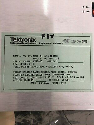 Tektronix 73a455 Dual 1553ab Simulator Vxi Card