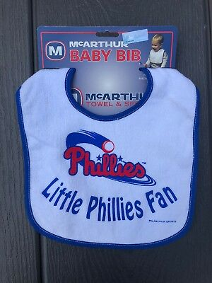 MLB Philadelphia Phillies Baseball Baby Bib Blue Trim - NEW! Blue Infant Baseball Bib