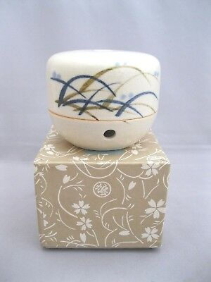 Beige Crackle Finish - ANTIQUE/VTG JAPANESE CRACKLE FINISH CERAMIC CENSER~SIGNED~IN ORIGINAL BOX~BEIGE