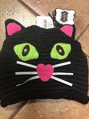New! Mud Pie Infant Black Cat Knit Hat Cap Infant 0-12 Months Halloween Costume