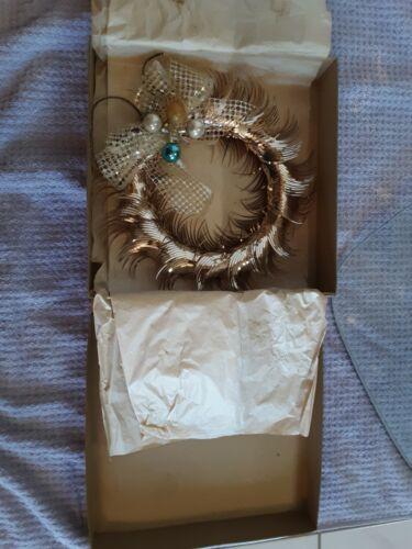 "Vtg MIROSTAR 10"" Gold Foil Christmas Wreath W/Box *EXCELLENT*"