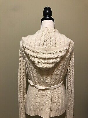 Abercrombie Ivory Cable Knit Cardigan Sweater Hoodie Belt Long Womens Size M - L