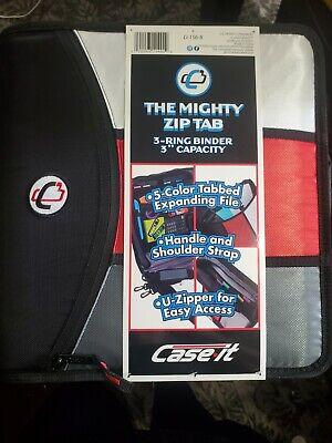Case-it Mighty Zip Tab 3-inch Zipper 3 Ring Binder. Handle Shoulder Strap.