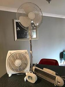 2 x Floor Fans, 1 x Wall Heater and a clock Cecil Hills Liverpool Area Preview