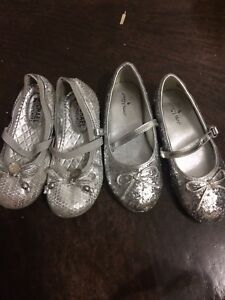 Sparkly silver dress shoes Michael kors size 10 toddler 11
