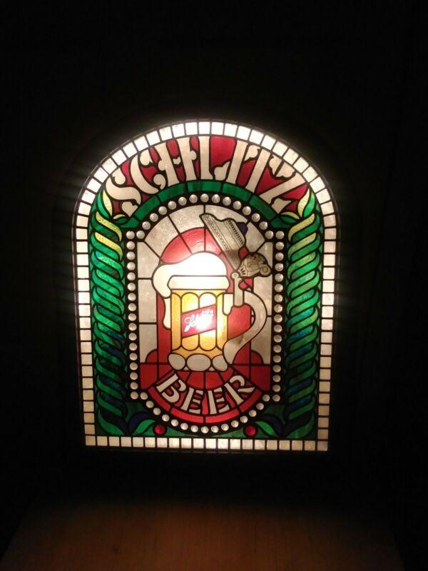 Vintage 1980 Schlitz Beer Stained Glass Lighted Sign - Bar/Mancave