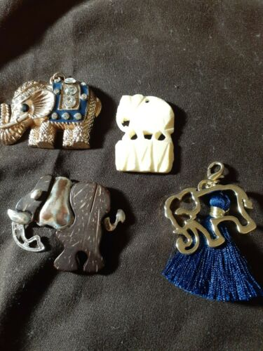 Elephants Pendents Lot Of 4 - $2.55