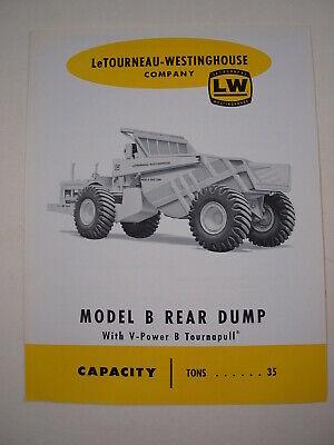Letourneau-westinghouse Tournapull Rear Dump Model B Brochure 1960 Original Mint