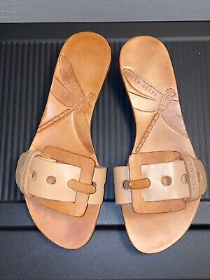 Ted Baker Tan Buckle Leather Slides Mules Sandals US Size 5 EU 36 Worn Once VGUC Ted Leather Sandals
