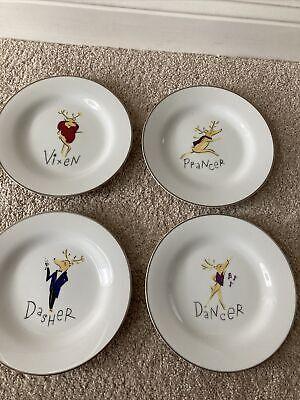 """Pottery Barn Reindeer Dessert Salad Set Dasher Dancer Prancer and Vixen 8 1/2"""""""