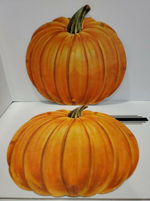 Vintage Unbranded Large Pumpkin Die-cut One side HALLOWEEN Decorations Set of 2