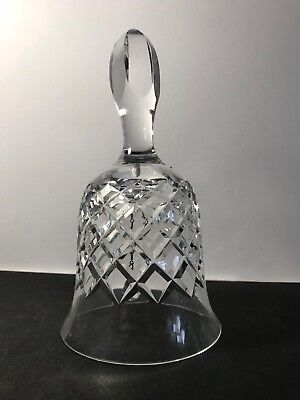 BEAUTIFUL LARGE CRYSTAL CROSS-HATCH CUT GLASS BELL WITH TULIP BUD HANDLE