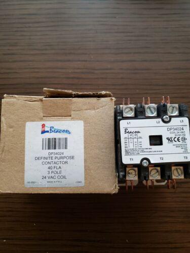 Beacon DP34024 Definite Purpose Contactor 40 FLA 3 Pole 24 VAC Coil