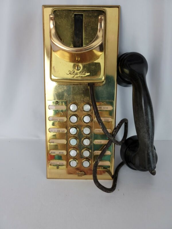 HOLTZER CABOT Vtg Brass Mother-of-Pearl Button Estate Telephone Intercom Box