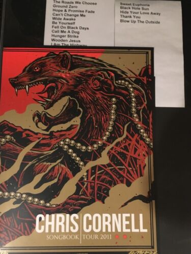 RARE MINT Chris Cornell Soundgarden Artist Proof 1 of Only 20 + Setlist Bundle