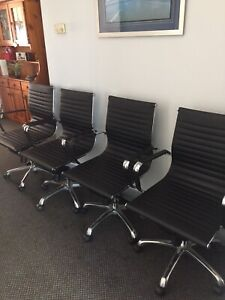 Mobile gas lift/tilt base leather office chairs (as new) x 4