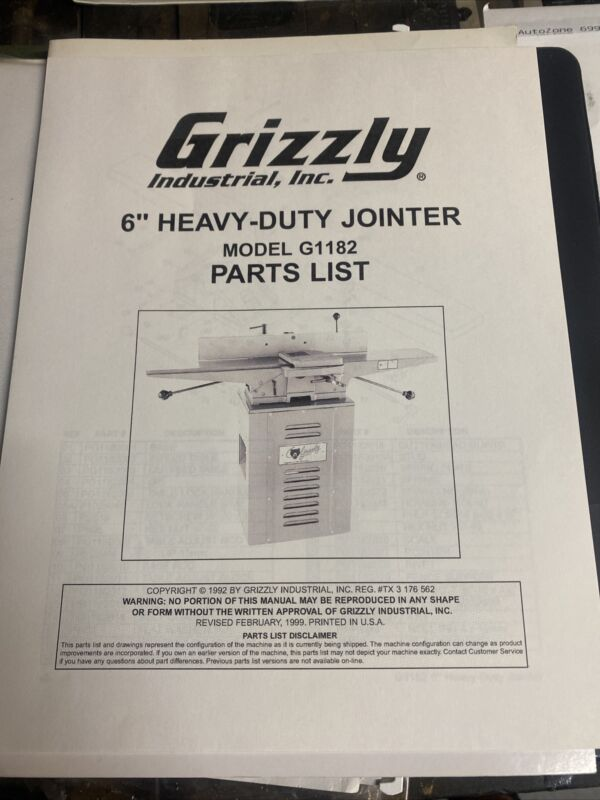 """Grizzly 6"""" Heavy Duty Jointer Model G1182 Parts list Revised Feb 1999"""