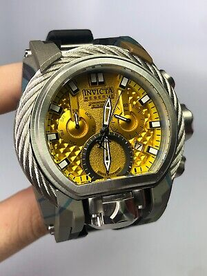 Invicta Reserve Mens 52mm Bolt Zeus Magnum Swiss Quartz Watch Yellow 26444