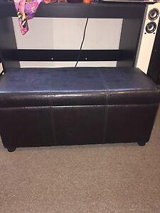 Dark brown leather storage box  furniture piece Labrador Gold Coast City Preview