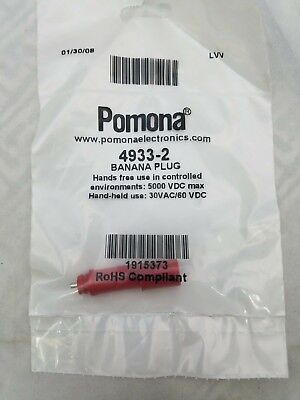 Pomona 4933-2 Sheathed Banana Plug 182022 Awg Wire Red