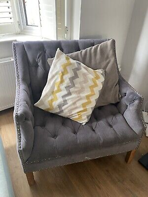 Chesterfield Sofa Armchair 2 Seater Love Seat Grey