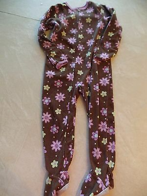 Footed Sleeper Pajamas Pj S (girls CARTER'S FOOTED SLEEPER pajamas WINTER FLEECE PJ'S purple flowers SIZE 4T)