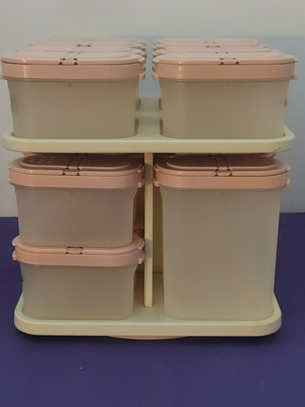 Vintage Tupperware Spice Rack Modular Mates Containers Pink Lids + Carousel EUC