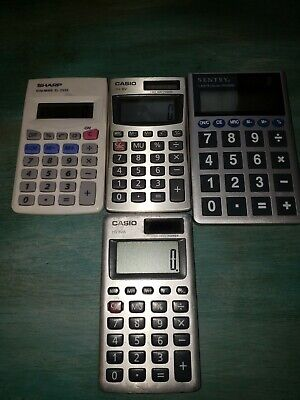 Lot of 4 Solar Calculators Casio Sentry Sharp