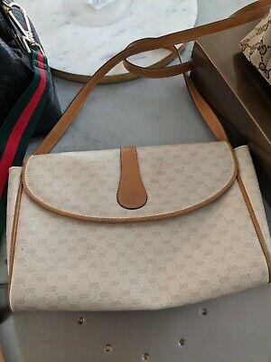 Gucci Vintage Beige GG Monogram & Tan Leather Trim Small Sling Crossbody Bag