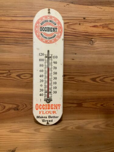 Antique Wooden Occidental Milling Company Thermometer