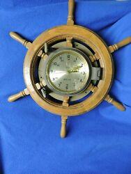 Vintage Brass Ships Wheel Porthole Quartz Clock Nautical Time