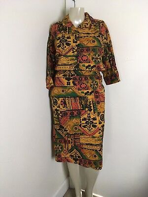 80s Vintage 2pc L Skirt Shirt Outfit Set Ethnic Tribal Novelty Tropical Spanish