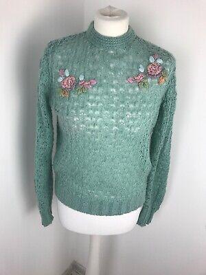 Vintage Mint Pastel Green Embroidered Jumper Size 10-12